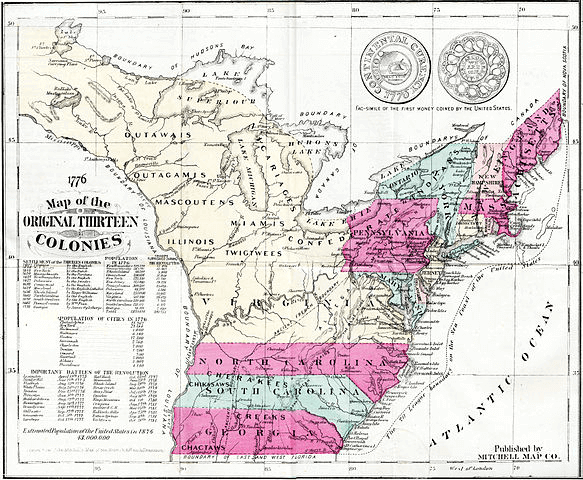American Revolutionary War Thirteen Colonies - Original thirteen colonies map